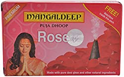 Mangaldeep Puja Dhoop - Rose, 20 Dhoop Sticks + 1 Match Box Pack