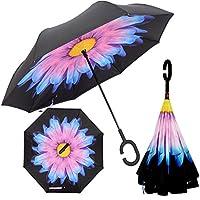 MYC Yi Lian inverso pieghevole doppio strato invertito Umbrella anti-UV e ombrelloni e la pioggia con le mani a forma di C-libera della maniglia, le migliori compatto da viaggio Ombrello per l'auto (bicchiere)
