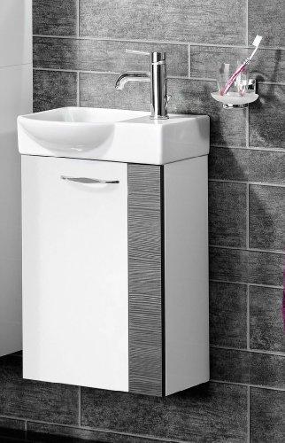 FACKELMANN Gäste WC Waschtisch Sceno, Hochglanz weiß/Pinie anthrazit