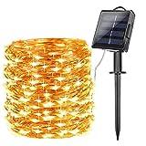Tobbiheim Tobbiheim LED Lichterkette mit Solar Panel und Batteriekasten, 22 Meter 200 LEDs Kupferdraht IP65 Wasserdicht Außen Lichterkette für Weihnachtsbaum, Party, DIY Deko - Warmweiß