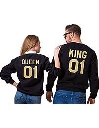 YouPue King&Queen Imprimées Sweat-shirts Manches Longues Sweatshirt Pullovers Décontracté Tops Automne et Hiver