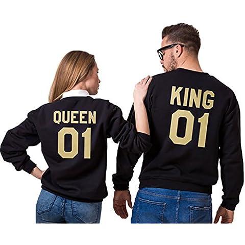 YouPue Mujeres y Hombres Sudaderas KING & QUEEN Carta Impresión Manga Larga Sudadera Pullover Camiseta Tops de