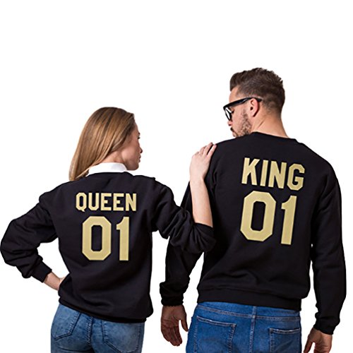 YouPue King&Queen Imprimées Sweat-shirts Manches Longues Sweatshirt Pullovers Décontracté Tops Automne et Hiver Homme