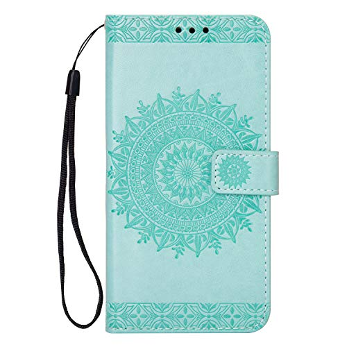 Kompatibel mit Handy Schutzhülle Galaxy A6 2018, Hülle Handyhülle Leder Brieftasche Leder Case Ledertasche Lederhülle Galaxy A6 2018, Luxus Mandala Totem Blumen Entwurfe Le