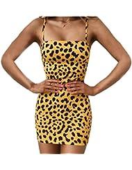 Vestido de Tirantes de Moda para Mujer Sling Leopard Estampado de Verano Casual