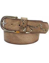 57579c086dfd11 Lirii Damen Ledergürtel mit Nieten uni Vintage Look silberne Schnalle Stern