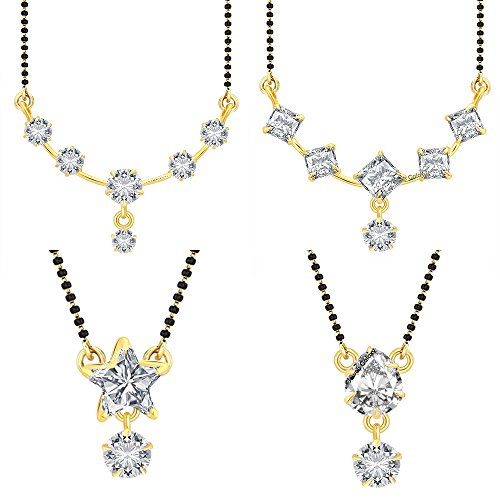 Jewels Galaxy Classic And Elegant AAA American Diamond 4 Unique Designs Mangalsutra Collection - Set of 4