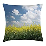 MLNHY Country Home Throw Pillow Cushion Cover, Blooming Rapeseed Field and Clear Sky Clouds Saxony Germany Rustic Eco, Decorative Square Accent Pillow Case, 18 X 18 inches, Yellow Green Blue