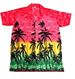 SAITARK - Camicia Hawaiana da Uomo, Motivo Estivo con di Palme - Medium - Rosa