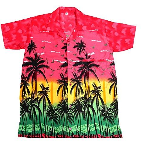 Camisa hawaiana para hombre, diseño de palmeras, para la playa, fiestas, verano y vacaciones - S - rosa