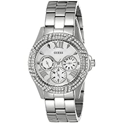 Guess Women's Quartz Watch with Silver Dial Analogue Display and Silver Stainless Steel Bracelet W0632L1