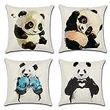 Seepong Funda de cojín Lovely Pandas Funda de Almohada de Lino con diseño Vintage 4 Piezas Funda de Almohada 45x45cm