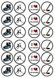 Ice Hockey Edible PREMIUM THICKNESS SWEETENED VANILLA, Wafer Rice Paper Cupcake Toppers/Decorations by Cian's Cupcake Toppers Ltd
