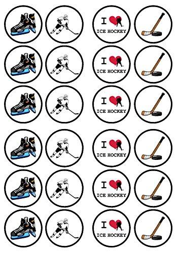 Ice Hockey, Eishockey, Essbare PREMIUM Dicke GEZUCKERTE Vanille, Wafer Reispapier Cupcake Toppers/Dekorationen