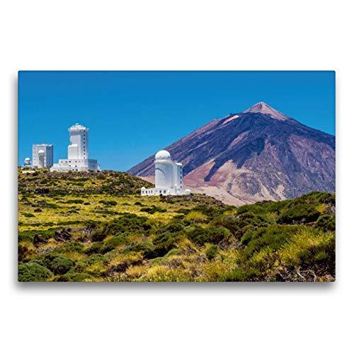 Calvendo Premium Textil-Leinwand 75 cm x 50 cm quer, Observatorium und Vulkan auf Teneriffa | Wandbild, Bild auf Keilrahmen, Fertigbild auf echter Leinwand. Vulkan Teide auf Teneriffa Orte Orte (Home-observatorium)