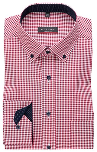 Eterna Long Sleeve Shirt Modern Fit Poplin Checked Rosso