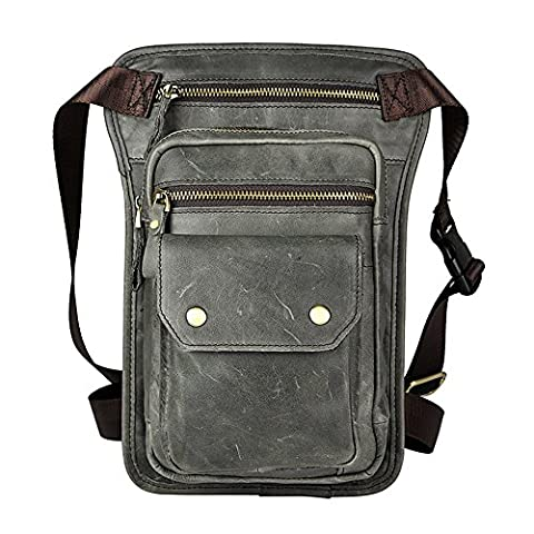 Genda 2Archer Sling Tactical Oberschenkeltasche Echtes Leder Bein Tasche (Style 1 Grau) (Co Leder Sling)