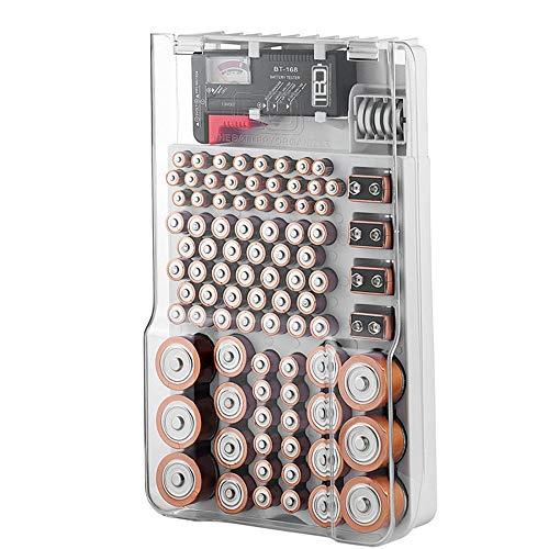 La custodia e il tester della batteria dell'organizzatore della batteria, scatola di immagazzinaggio portatile con coperchio trasparente incernierato, contiene 93 batterie di varie dimensioni