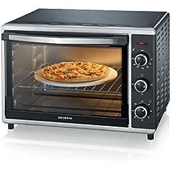 SEVERIN Mini-Four avec Chaleur Tournante, Pierre à Pizzas Incluse, 1 800 W, 42 L, TO 2058, Argent/Noir