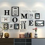 Dekorrahmen Fotorahmen Sets, Wohnzimmer Fotowand Mit Einer Uhr, Rahmen Wand Kreative Kombination Sofa Hintergrund Frames Set Von 9 ( Farbe : C , größe : 9frames/162*80CM )