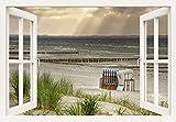 Artland Qualitätsbilder I Wandtattoo Wandsticker Wandaufkleber 70 x 50 cm Landschaften Strand Deutschland Foto Creme C3JK Fensterblick Schwarzer Busch Insel Poel