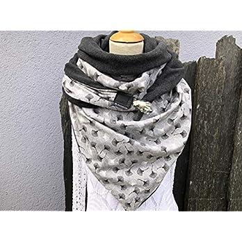 Tuecherfee, XXL Dreieckstuch, bestehend aus dunkelgrauen Fleece und einer grauen Baumwolle mit grau/weißen Pusteblumen/ein Clip sorgt für den perfekten Sitz
