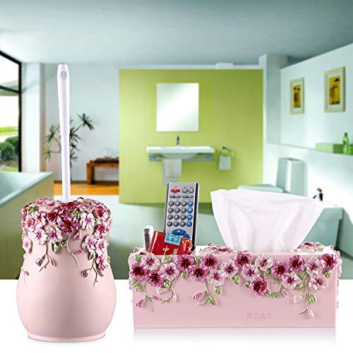 HDOUBR Europäische Lange Griff toilettenbürste Halter basisbürste reinigungsbürste kreative japanische Bad wc Boden toilettenbürste Set, romantische Hause Pulver + gewebe Box -