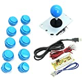 WINIT Zero Delay PC Joystick Cabinet DIY Parts Kit for Mame Jamma & Fighting Games 10PCS Blue buttons+1pcs Zero Delay + 1PCS Blue Ball 8 Way Joystick USB Encoder Support All Windows Systems - Color Blue Kit