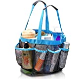 #5: ELV Mesh 8 Compartments Shower Caddy Hanging Toiletry and Bath Organizer (Blue)