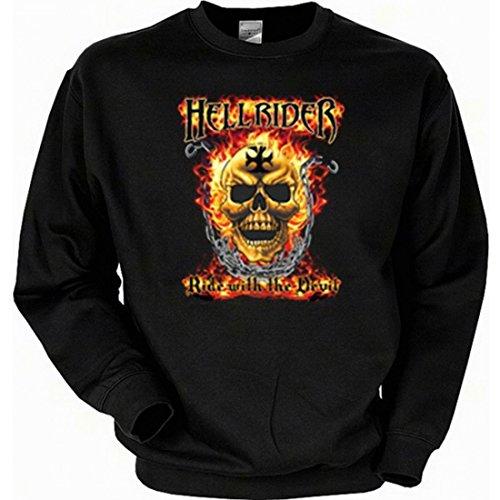 Sweatshirt mit Motiv - Hell Rider - Ride with the Devil - Sweater mit Amerika USA Flair Geschenk-Idee Biker - Schwarz, Größe:XL Ride Herren Pullover