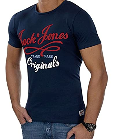 JACK & JONES Herren T-Shirt jjorNEW QUAY Kurzarmshirt Print Shirt Basic Crew Neck Tall & Slim (M, Blau (Peacoat Fit:TALL&SLIM))