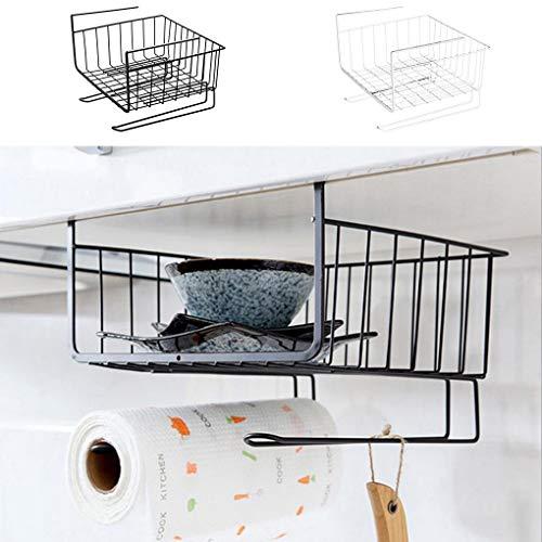 Lorsoul Lagerregal unter Kabinett Metalldrahtkorb Organizer Fit Doppelhaken für Küche Speisekammer Schreibtisch Bücherregal -