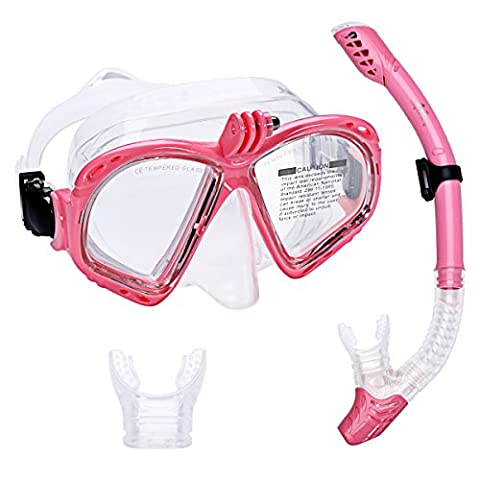 Supertrip Premium Snorkel Set Adult with 2 Mouthpieces Diving Mask Snorkeling Diving Swimming Goggles Mask Dry Snorkel Set with Camera Mount Color Pink