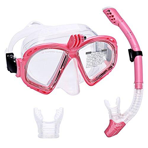 Supertrip Premium Schnorchelset Erwachsene Taucherbrille mit Schnorchel Tauchset Tauchmaske mit Kamera Halterung Tauchen Dry Schnorcheln Set Colour Rosa