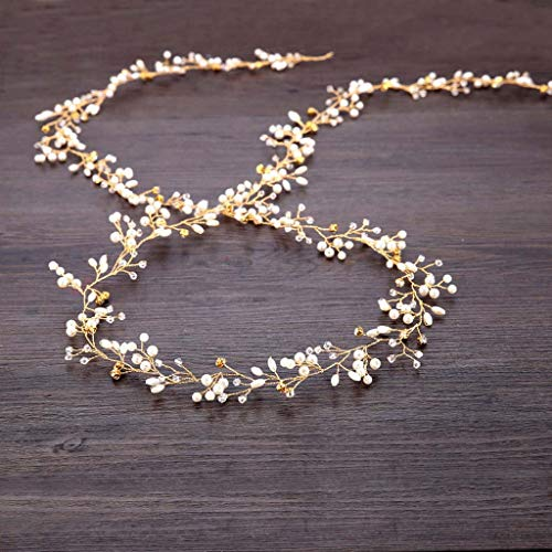 Mode Luxus Braut Perle Stirnband handgewebte Haarschmuck Tiara retro elegante Damen Perle Strass Haarnadel Hochzeit Brautschmuck Braut Haarschmuck (Gold) (Schaum Tiara)