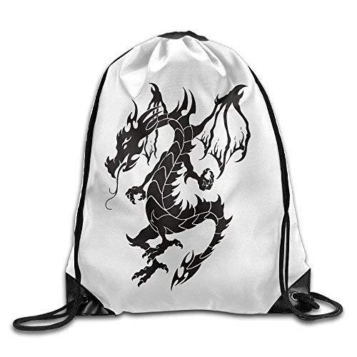 Etryrt Prämie Turnbeutel/Sportbeutel, Superb Black Ink Tribal Dragon Tattoo Print Drawstring Backpack Rucksack Shoulder Bags Gym Bag Sport Bag (Tribal Tattoo Dragon)