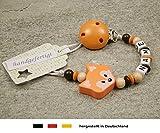 Baby SCHNULLERKETTE mit NAMEN   Schnullerhalter mit Wunschnamen - Mädchen & Jungen Motiv Fuchs in orange