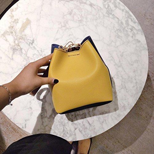 Longra Borsa portatile diagonale sacchetto di secchio di cuoio dell'unità di elaborazione delle donne Giallo