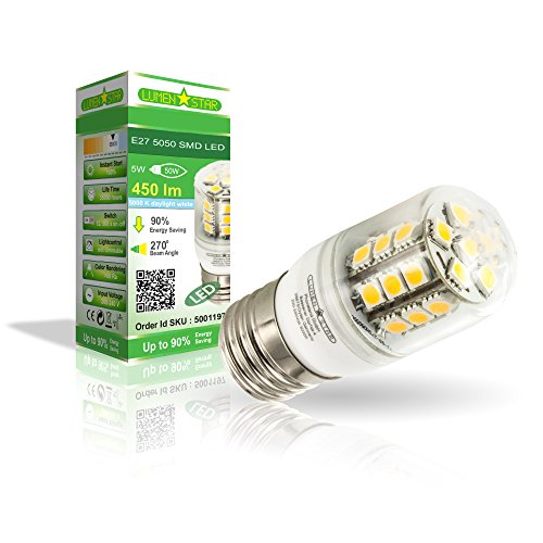 LumenStar® LED E27 Lampe 5 Watt - 400lm, 5000K kaltweiß, 270° Abstrahlwinkel, ersetzt 50W - Como