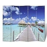 vidaXL Biombo plegable con impresión de la playa de madera de alta calidad 200 x 180