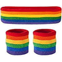 (Rainbow) - Suddora Headband / Wristband Set - Sports Sweatbands For Head And Wrist
