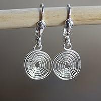 Silber-Ohrringe mit hand-gebogener gehämmerter Spirale - auch mit Ohr-Clips oder allergie-freiem Chirurgen-Stahl - super leicht und bequehm