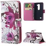 LG Leon 4G LTE Hülle ,Lila Blüte Muster Flip Case Cover