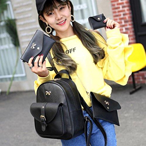 BZLine® 4 Sets Frauen Mädchen Reise Rucksack Schule Tasche Tasche Handtasche Schwarz