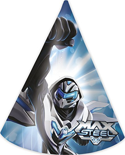 Generique - 6 Partyhüte Max Steel (Max Steel Kostüm)
