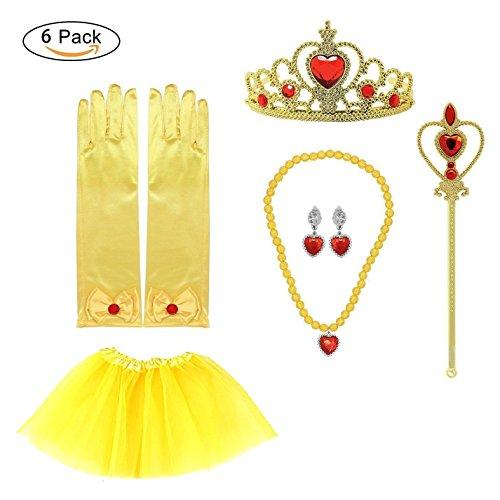 Prinzessin Belle Zubehör Belle verkleiden Kostüm Halloween Kinder Geschenk gelbe Prinzessin Kleid Prinzessin Belle Kostüm Party verkleiden sich 6 Set Handschuhe, Zauberstab Tiara, Tutu, (Halloween Group Kostüme 8 Für)