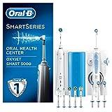 Oral-B Mundpflege-Center, SMART 5000 Elektrische Zahnbürste + OxyJet Munddusche, Für eine sanfte Reinigung am Zahnfleischrand, 4 OxyJet Aufsteckdüsen
