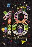 18.Geburtstag Glückwunschkarte Geburtstagskarte Birthday Card mit Zahl 18 (Schwarz-Bunt)