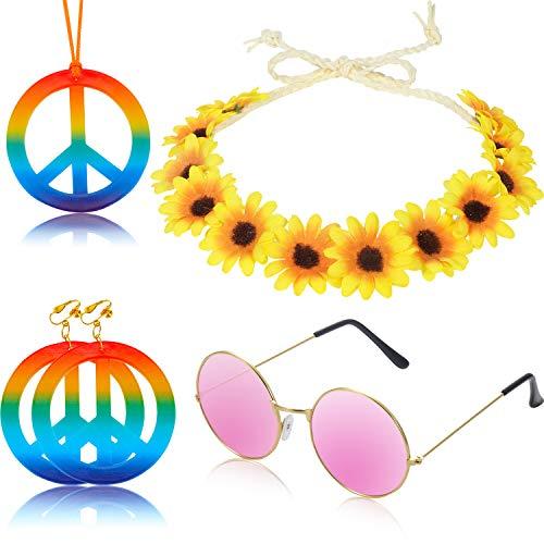 5 Stücke Hippie Kostüm Zubehör Set Regenbogen Frieden Zeichen Halskette und Ohrringe Sonnenblume Stirnband, Hippie Sonnenbrille für Hippie Ankleiden Lieferungen