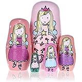 Sumnacon 5 pcs Poupées Russe en Bois, Traditionnel Cadeau s'imbriquent, Kawayi Mignon Princesse avec meilleur souhait pour Enfant, Amie etc.